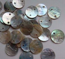 30 cuentas Concha Plana iridiscente. 10 mm Natural./abalorios/Coser embellecen/Crafts