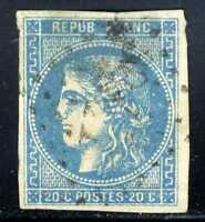 1870-71 FRANCE Blue Bordeaux Issue SC#44a A10 20c  USED