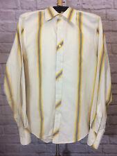 BEN SHERMAN Striped Shirt M (2) Retro Vibe Ivory Yellow Blue Button Front #6949