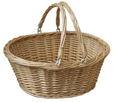 Traditional Premium Wicker Shopping Basket with Folding Handles - LARGE NATURAL