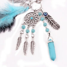 Cute Turquoise Dreamcatcher keyring Silver Boho Feather Leaf Keychain For Women