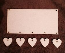 Wooden Plaque With 5 Hearts Mdf Blank 200 X 100 Mm