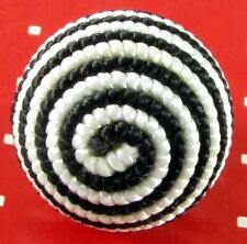 Good Size Fabric Ball Button, Black And White Spiral Pattern