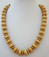Vintage Wooden Disc Round Beads Necklace Natural Wood Beads Strand 24 inches