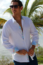 Mens Bohio 100% Pure Linen White Casual Long Sleeve Shirt Sizes (S ~ 1XL)- MLS87