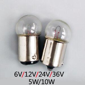 BA15s Bayonet Indicator Light Bulb Lamp 5W 10W 6/12/24/36V Single/Double Contact