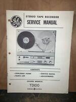 General Electric Tape recorder TD100 -Service Manual- Schematics, Parts List.