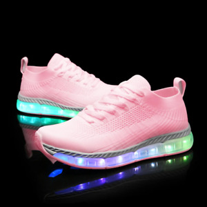 Flash Wear X-Runners - Pink -  Black Light up Trainers - LED Shoes All Sizes