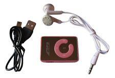 Mini clip lecteur baladeur MP3 rose avec câble USB et écouteurs