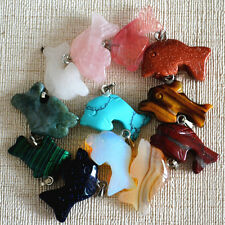 Wholesale 12Pcs/lot Carved assorted natural Stone Dolphin Pendants charms gift