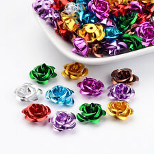 100pcs Mixed Aluminum Rose Flower Tiny Metal Beads Colorful DIY Jewelry 17x9mm