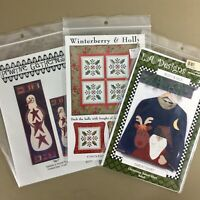 Lot of 3 Christmas holiday applique patterns snowman Santa winterberry and holly