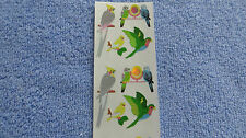Sandylion LOVE BIRDS/CANARY/COCKATEEL/PARAKEET Strip of 2 Sqs Vtg Stickers