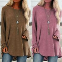 Casual Pullover Tunic Jumper Baggy Women Long Tops Ladies Sleeve T-shirt Loose
