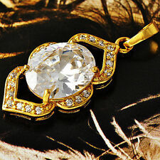 Womens 9k  Gold Filled Clear Oval CZ Pair Heart Charm Pendant Jewelry