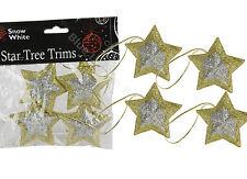 4 x 6cm doré / argent en forme d'Etoile ARBRE Bords Décorations de noël fête