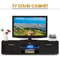 """63"""" Black LED TV Stand Entertainment Furniture Console Cabinet Remote Control"""