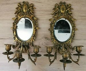 ANCIENNE PAIRE d'APPLIQUES MURALES BOUGEOIRS MIROIRS ANGELOTS PUTTI XIX BRONZE