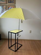 NWT Vintage Yellow and White Beach Umbrella Clamps onto Chair or Table Classic!