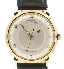 Vintage Dial de Oro Macizo 14K Bulova misterio caso 30J Reloj Automático