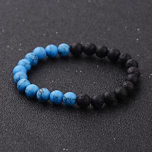 Fashion 8MM Matte Black Natural Round Gemstone Beads Beaded Handmade Bracelets