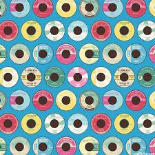 Northcott MEL'S DINER - 50s Retro Vinyl Record Fabric - Blue