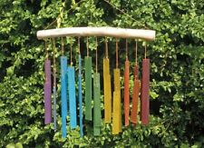 RAINBOW RECTANGLES RECYCLED GLASS WINDCHIME multi coloured garden FAIRTRADE NEW!