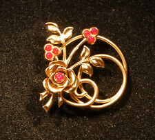 GOLD TONE METAL FLOWER ROSE AND LEAVES CIRCLE BROOCH PIN WITH RED STONES RETRO