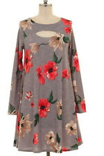 NWT Plus 1XL 12/14 Gray Pink Tan Floral Peephole Chest Swing Dress Tunic Pockets