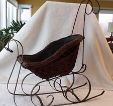 Antique Primitive Wicker Sleigh Display Christmas or Doll 21.5""