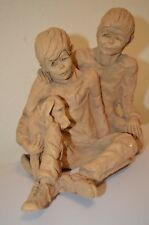 Hound Dog Children Boy Dave Grossman Design 3LB Clay Figure Signed Sculpture VTG