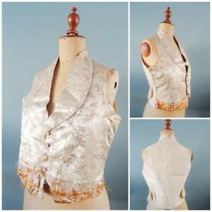 Antique Waistcoat Vest Victorian Gentlemans Gold Floral Woven Silk Wedding c1840