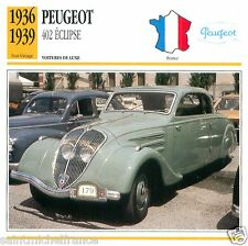 PEUGEOT 402 ECLIPSE 1936 1939 CAR VOITURE FRANCE CARTE CARD FICHE