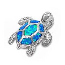Blue Australian Opal Turtle .925 Sterling Silver Pendant