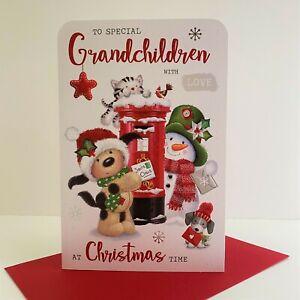 Jonny Javelin Special Grandchildren Christmas Time Card Dogs Snowman /XF006