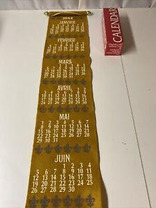 Vintage Now Designs Felt Calendar Scroll 1994 French Calendar Gold Grey