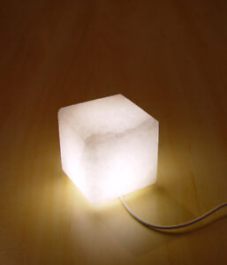 LED Salt Lamp Himalayan Cube White Therapeutic Crystal Night Light USB Cable