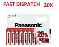 20 x AA Genuine PANASONIC Zinc Carbon Batteries - New R6 1.5V Expiry 2022