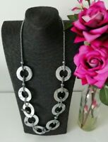 Silver Tone Grey Shell Bead Chunky Statement Necklace Costume Lagenlook Natural