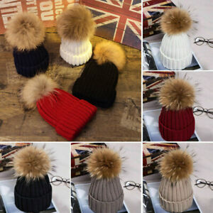 Womens Warm Winter Hat Genuine Racoon Fur Pom Pom 15cm Ball Knit Beanie Ski Caps