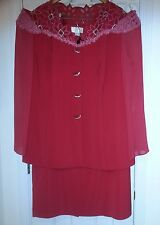 Womens Plus Size 24W Donna Vinci Couture Red Special Occasion 2 pc Skirt Suit