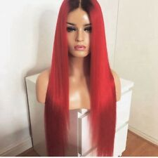 "24"" Party Long Straight 1B/Red Heat Safe Fiber Hair Lace Front Wig"