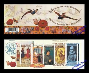 Carnet 5 timbres BELGIQUE les POLYPHONISTES de la RENAISSANCE artistes Belges