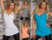 Canotta Top Lungo Donna Maglietta T-shirt Lunga Trama CA91183-B502 Tg S M L