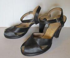 Vintage 1940's Risque' Black Satin Peep Toe Platform High Heel Shoes