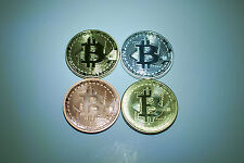 bitcoin physical 4pcs/set of commemorative coins: gold, silver, copper, bronze.