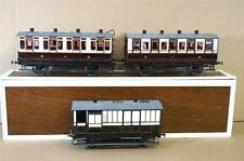 GAUGE 1 KIT BUILT BRASS LNWR 4 WHEEL 1st 2nd 3rd & BRAKE COACH RAKE x 3 MINT oc