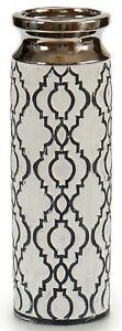 30cm Tall Ceramic Black White & Silver Flower Vase Cylinder Vase