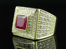 Mens 10K Yellow Gold Ruby Gemstone Simulated Lab Diamond Fashion Pinky Ring