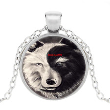 Ying And Yang Wolf Photo Tibet Silver Cabochon Glass Pendant Chain Necklace